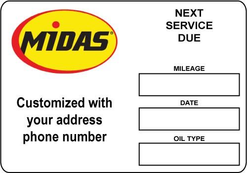 Midas Oil Change Stickers