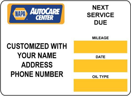Napa Auto Care Center Oil Change Stickers